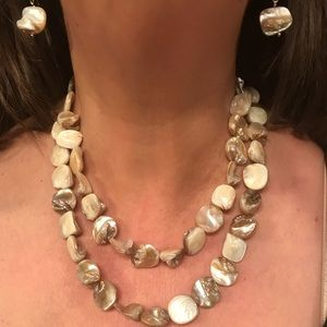 Jewelry - Mother of pearl nugget SS necklace/earrings
